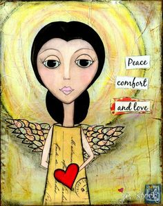 Mixed Media Art Comforting Angel 5x7 print Whimsical by JCSpock