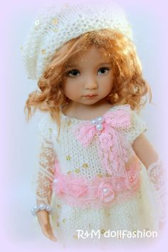 "R&M DOLLFASHION OOAK handknit set for Effner Little Darling 13"" Kish 14"" dolls"