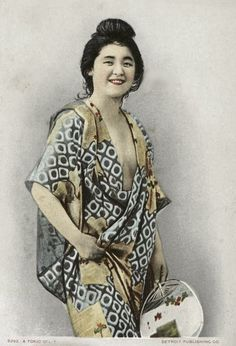 Hand-colored postcard.  Early 20th century, Japan