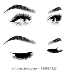 Vector: Hand-drawn woman's sexy luxurious eye with perfectly shaped eyebrows and full lashes. Idea for business visit card, typography vector. Perfect salon look Perfect Eyebrow Shape, Perfect Eyebrows, Eyebrow Quotes, Eyebrow Tips, Eyebrows Sketch, Makeup Eyebrows, Eyebrow Makeup, Cute Bun Hairstyles, Perfect Red Lips