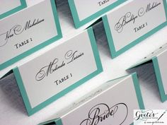Tiffany blue escort cards - http://www.toptableplanner.com/blog/escort-cards-an-extra-finishing-touch-for-your-wedding-seating-plan