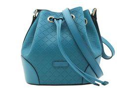 e16a8637a68 Gucci Leather Bucket Bag Bright Diamante Turquoise Blue Shoulder Handbag  354229  Gucci  ShoulderBag Blue