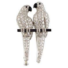 CARTIER diamante Onyx Platinum dell'uccello di amore Spilla a 1stdibs