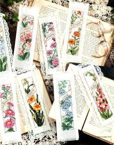 ♥Meus Gráficos De Ponto Cruz♥: Marcadores de Livros com Flores