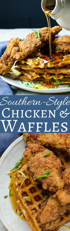 Southern-Style Chicken and Waffles This sweet and savory recipe for fried chicken and waffles is simple and straightforward! Crunchy chicken strips and crisp-tender waffles! Fried Chicken And Waffles, Fried Chicken Recipes, Fried Chicken Dinner, Chicken Strip Recipes, Fried Chicken Tenders, Recipe Chicken, Bbq Chicken, Brunch Recipes, Breakfast Recipes