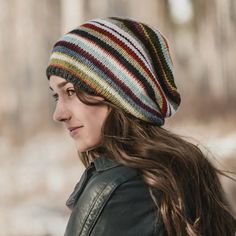 Blue Sky Fibers 21 Color Slouch Hat Kit is light enough to be worn any season. Knitting Supplies, Knitting Kits, Knitting Patterns, Crochet Patterns, Hat Patterns, Sock Knitting, Knitting Tutorials, Knitting Machine, Sock Yarn