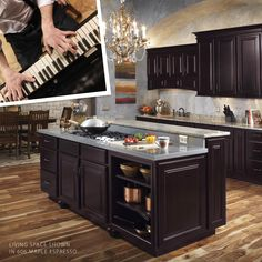 """I laughed as I headed over to the piano that had been a faithful friend to me for all those years, and ran my hand across the cool, dark, dramatic surface."""" Featuring our 606 Maple Espresso Door. Espresso Cabinets, Dark Wood Cabinets, Maple Cabinets, Color Stories, Cabinet Doors, Piano, Kitchen Ideas, Living Spaces, Kitchens"""