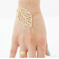 Women18k gold leaf wrap Bracelets Knuckle Bracelets Finger Slave chain b36