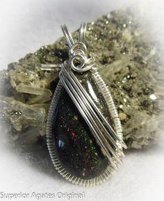 Honduran Honduras Black Opal Wire Wrapped Stone by superioragates, $65.00