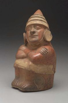 Seated male portrait vessel. Peru, Moche, Early Intermediate Period (Moche Phases I-III), about A.D. 100-450