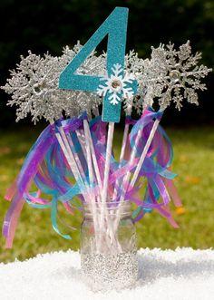 Frozen Party Number Snowflake Wands Party Favors Centerpiece Table Decoration