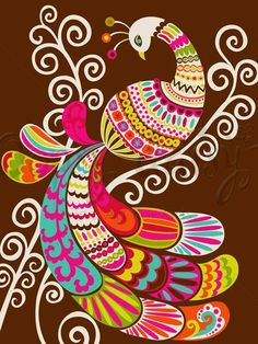 Dress up a bare wall with the Folk Fairy Tale - Peacock Canvas Wall Art from Oopsy Daisy. Canvas wall art is perfect for adding color and style to bedrooms, playrooms, nurseries and even bathrooms! Peacock Canvas, Bird Canvas, Peacock Art, Canvas Wall Art, Madhubani Art, Madhubani Painting, Art Wall Kids, Art For Kids, Wal Art
