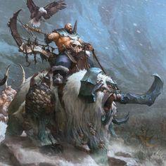 Warhammer Age of Sigmar 'Beastclaw Raiders', Wonchun Choi (AKA Doo-chun) on ArtStation at https://www.artstation.com/artwork/warhammer-age-of-sigmar-beastclaw-raiders