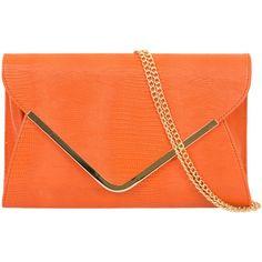 Orange Envelope Bag Large Clutch Bag Tangerine Evening Bag Ladies... (€17) ❤ liked on Polyvore featuring bags, handbags, shoulder handbags, flap handbags, shoulder bag, studded envelope clutch and structured purse