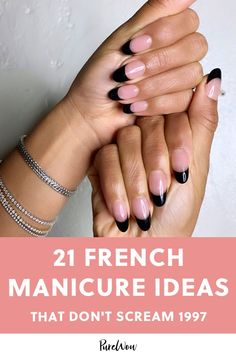 21 French Manicure Ideas That Don't Scream 1997 art Source by spencetiff and beauty nails Nail Art French, New French Manicure, Tie Dye Tips, Fluorescent Nails, Nail Polish Colors, Polish Nails, Art Nails, Nail Color Trends, Date Night Makeup