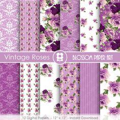 Rose Digital Paper Violet Digital Paper Pack Purple Scrapbooking Roses Vintage Roses - INSTANT DOWNLOAD  - 1703 blossompaperart 3.99 USD