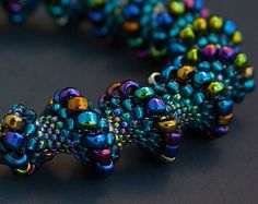cellini spiral | Blue Beaded Cellini Spiral Bracelet