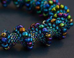 cellini spiral | Blue Beaded Cellini Spiral Bracelet