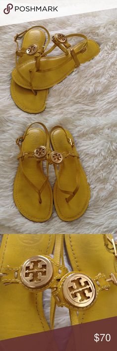 Yellow Tory Burch Sandals These beautiful Yellow Tory Burch sandals will make you stand out from the crowd the yellow and gold pair together beautifully and are the perfect addition to any outfit. They are in great shape with only a pink mark on the part of that goes in between your toe as pictured and the rest of the sandals show slight signs of wear. Get these while they last the last Tory Burch item I listed sold in less than 24 hours. Tory Burch Shoes Sandals