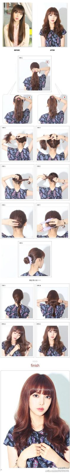 DIY Straight to Curl Hairstyle-  twist hair like in the picture and twirl into a bun, and secure. Wait 30 mins and done!