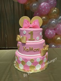 Disney Minnie Mouse pink and gold 3-tier 1st birthday cake