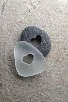 Dos de corazones - joyería de piedra cristal genuino mar y playa - ORIGINAL bolsillo guijarros
