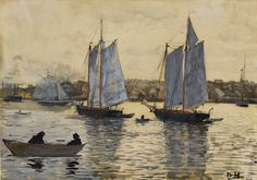 """""""Two Schooners, Gloucester"""", Winslow Homer, c. 1880, Transparent and opaque watercolor and graphite with scraping on heavy wove paper, 9 11/16 x 13 11/16"""", Philadelphia Museum of Art."""
