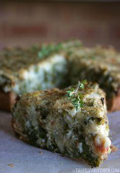 cauliflower kale potato pie (vegan)....i would use oil free crust and gluten free.