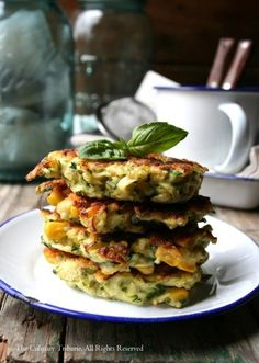 Zucchini Corn Fritters with Basil, 2 coarsely shredded zucchini, 1 cup corn, 1/3 cup hemp seeds, 10~15 basil leaves, 1/2 cup GF flour, 1/2 teaspoon baking powder, 1 egg, salt, pepper, canola oil (for frying)