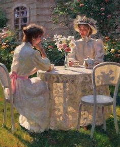 Gregory Frank Harris (b,1953 -) Women with Tea in Garden