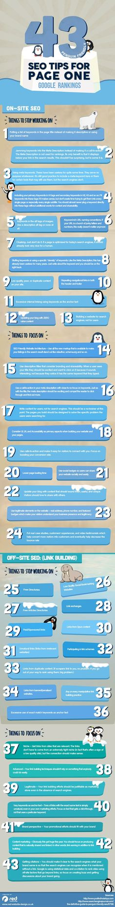 43 Penguin Friendly SEO Tips for Page One Google Rankings [#infographic] #searchmarketing #webdev #searchengineoptimizationagencies,