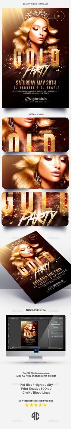 Classy Gold Party   Flyer Template Exclusive Template, Very easy to Edit and Creative Design perfect to promote your Party !