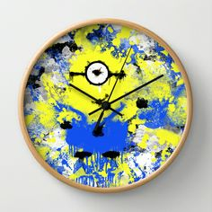 Splatter Painted Minion  Wall Clock by Trinity Bennett - $30.00