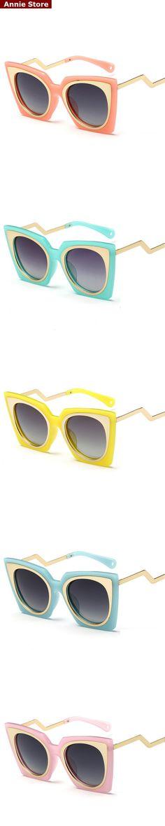 Wholesale Vintage brand sunglasses for kids in girls 2016 fashion metal cat eye polarized sunglasses for children orange green