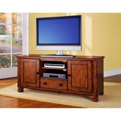 Rustic TV Stand for TVs Up To 50' Furniture Storage Area Drawer 2-Closed Doors #SummitMountain #Traditional