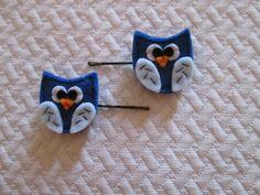 Set di due forcine con gufi blu in feltro - Fermagli per bambini - Accessori per…