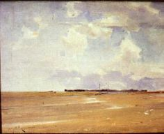 """""""Sand and Sky,"""" Chauncey Foster Ryder, oil on canvas, 12 x 16"""", Florence Griswold Museum."""