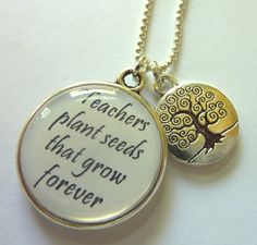 Personalized Teacher appreciation, teacher gift - Thank you for helping us grow -  Double sided Pendant with tree of knowledge charm