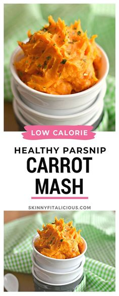 Healthy Parsnip Carrot Mash is a low calorie twist on traditional mashed potatoes. #healthy #carrot #mash #parsnip #low #calorie #lowcalorie #glutenfree #dairyfree #paleo #vegan Healthy Low Calorie Meals, Low Calorie Recipes, Healthy Dinner Recipes, Paleo Recipes, Healthy Side Dishes, Vegetable Dishes, Side Dish Recipes, Paleo Vegan, Vegan Foods