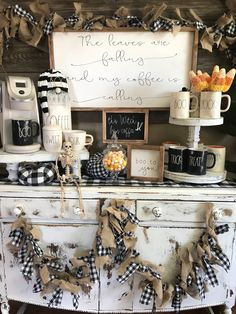 The leaves are falling and my coffee is calling sign, coffee bar sign, fall sign, halloween sign, fa – Kitchen Coffee Bar Home, Coffee Bar Signs, Coffee Bars, Coffee Bar Ideas, Coffee Bar Party, Coffee Bar Wedding, Coffee Nook, Coffee Shops, Halloween Signs