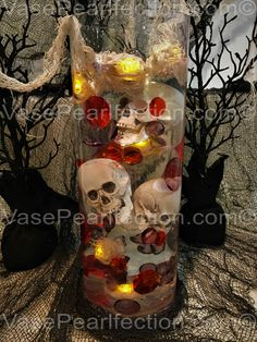 60 Halloween Floating Jumbo Skulls, Diamonds and Pearls Vase Fillers + 2 Transparent Water Gels Packets Value Pack + Free Shipping