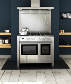 Rangecookers Select 100 cooker with stainless steel hood and splashback