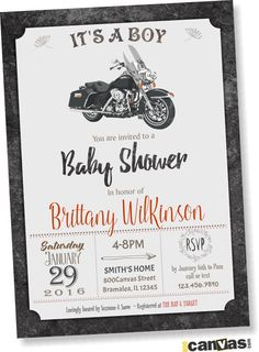 MOTORCYCLE BABY Shower Invitation. Motorbike Baby Shower Invite. Its A Boy Baby…