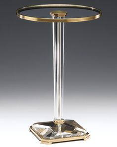 Round solid crystal pedestal table with antiqued brass trim | crystal furniture | #crystal #tables