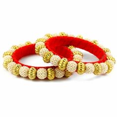 Rabila Bangle Set http://blossomboxjewelry.com/db11.html #armcandy #bangles #red #goldenbeads