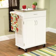 Kitchen Cart With Stainless Steel Top Table Cabinet Storage Portable Wood White Ikea Kitchen Storage, Kitchen Nook, Buy Kitchen, Wooden Kitchen, Kitchen Cart, Kitchen Ideas, Beige Kitchen, Wood Cabinets, Storage Cabinets