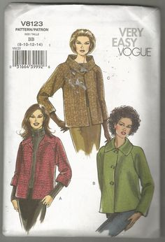 Vogue 8123 Sewing pattern Loose fitting jacket 8 10 12 14  uncut factory folded