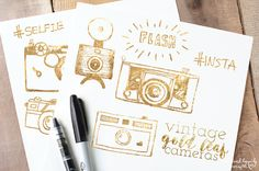 Gold Leaf Vintage Cameras by WeLivedHappilyEverAfter on Creative Market