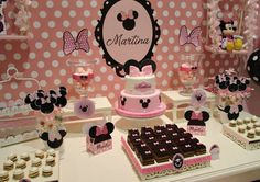 Minnie Mouse baptism party dessert table! See more party planning ideas at CatchMyParty.com!