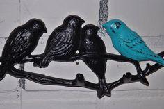 Shabby chic bird hook / birds on branch rack /Cast Iron Hook/Nursery / Shabby Chic Decor